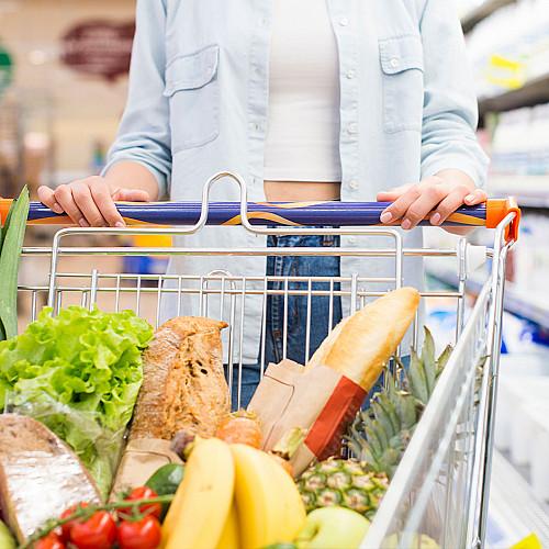 Detail Dagligvarer-kvinde-med-indkøbsvogn-logo